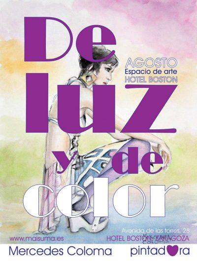 exposicion en el hotel boston de Zaragoza, acuarelas de moda de Mercedes Coloma