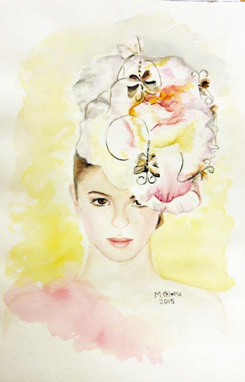 Aprendiendo a pintar siempre, retrato en acuarela