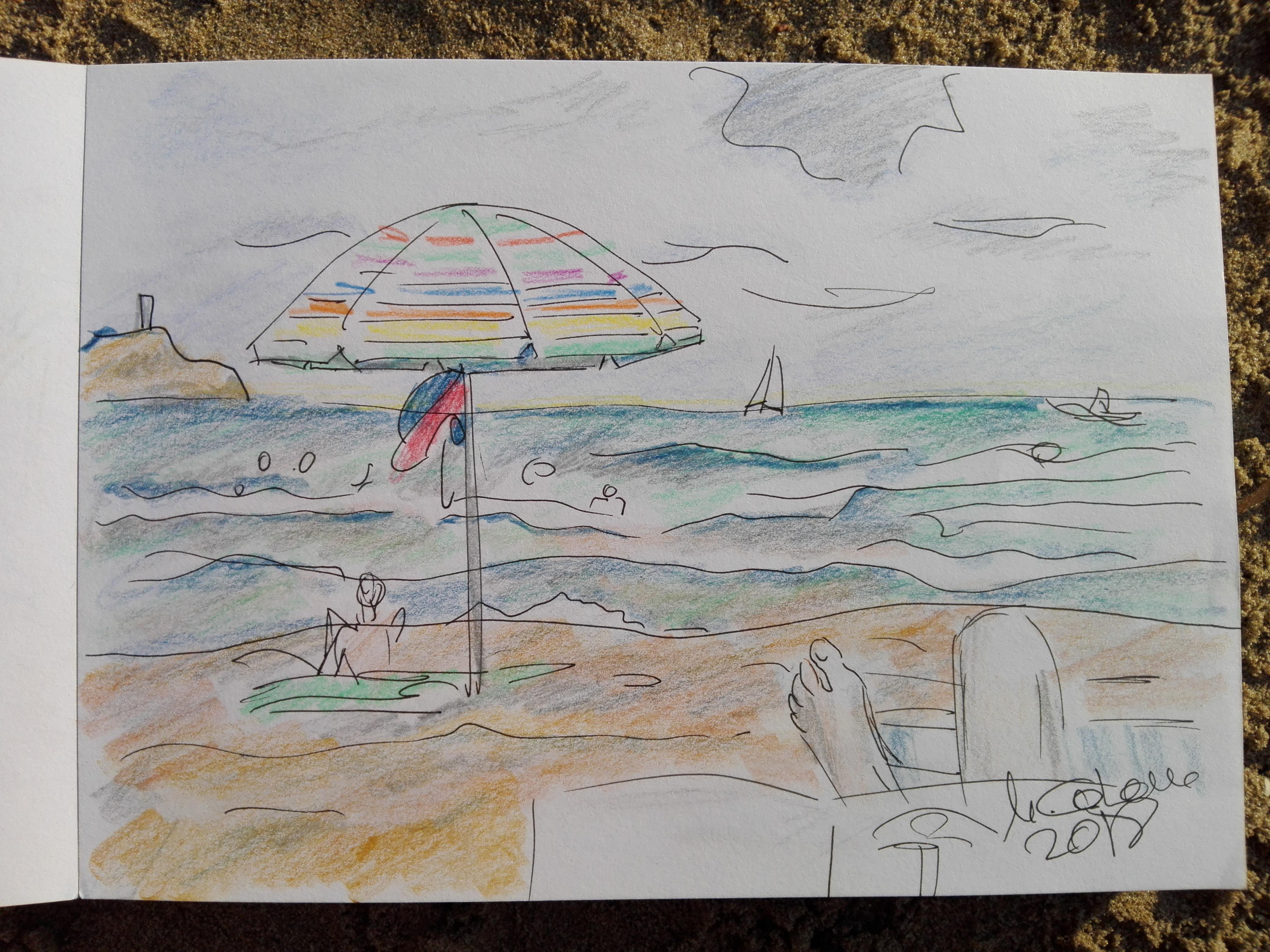 lapices de colores, autoretrato en la playa de benicassim