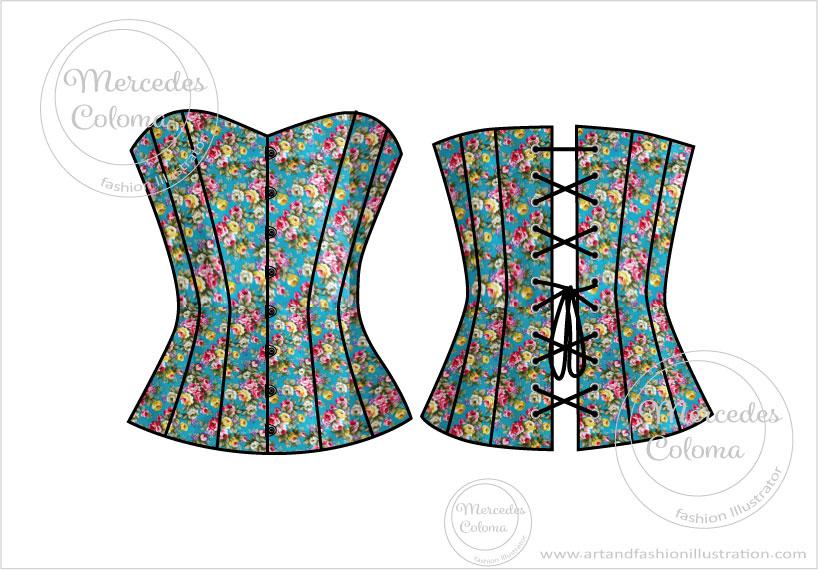 dibujo de corset para confeccionar