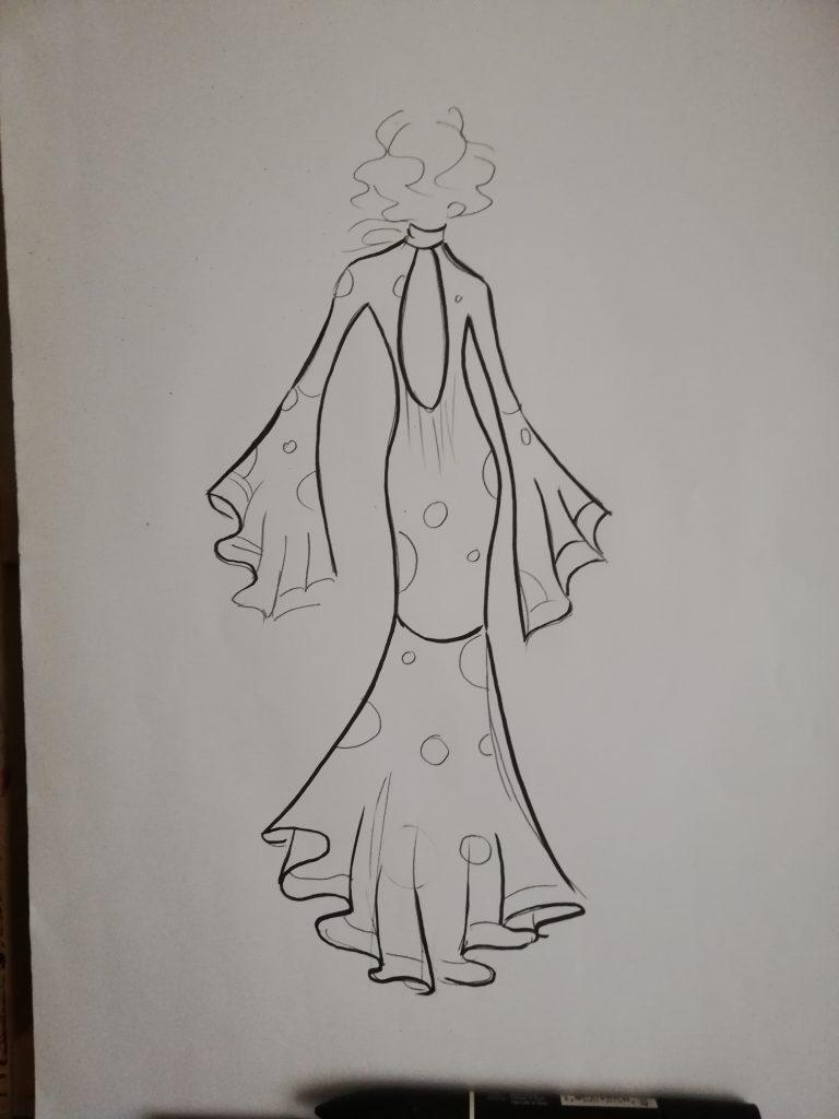 boceto ilustracion de moda flamenca