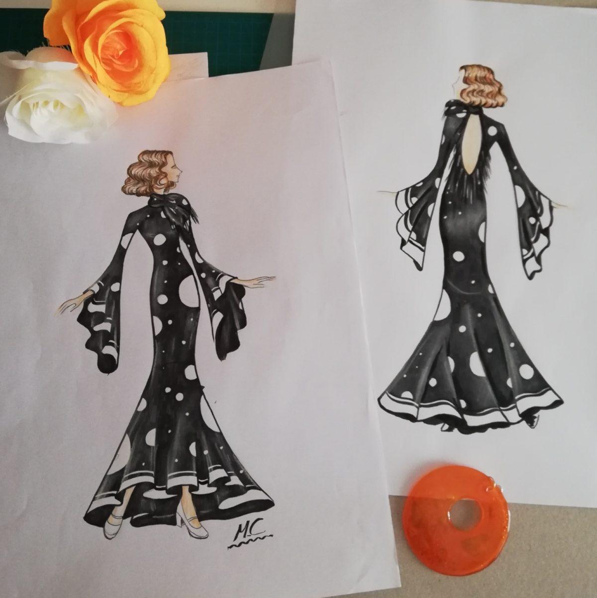 Ilustración de moda, rotulador y pastel sobre papel Pasarela flamenca Granada